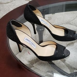 Jimmy Choo size 39 black sparkly heels